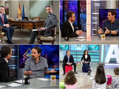 Pedro Sánchez, Albert Rivera, Pablo Iglesias y Pablo Casado, en diferentes entrevistas de televisión.
