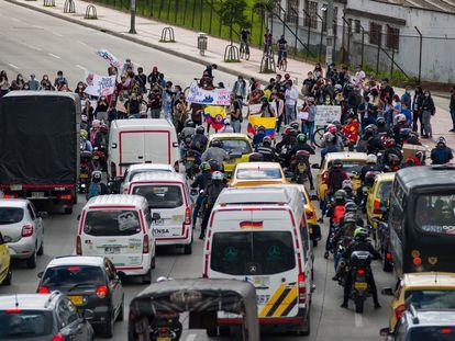 Bloqueos en las calles de Colombia en el marco de las protestas.