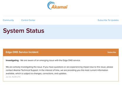 Mensaje sobre el incidente publicado por Akamai.