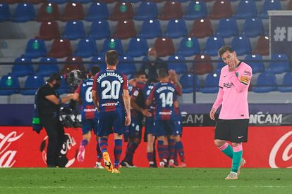 Messi, durante el partido del Barcelona en el campo del Levante.