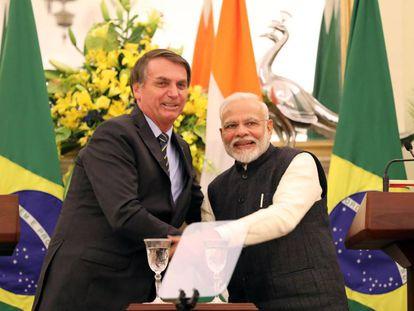 Bolsonao y Modi durante la visita oficial del brasileño a India.