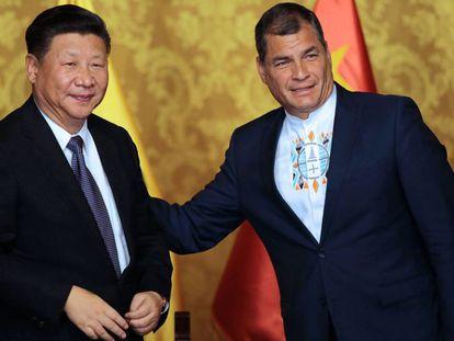 Xi Jinping y Rafael Correa este jueves en Quito.