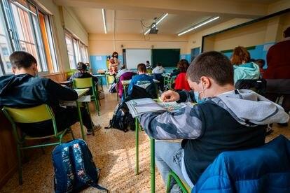 Alumnos de la ESO en un instituto público en Aragón.