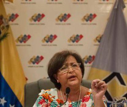 La presidenta del Consejo Nacional Electoral de Venezuela.