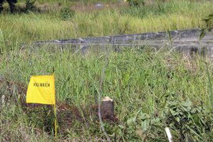 Una bandera marca una zona contaminada de 'agente naranja'.