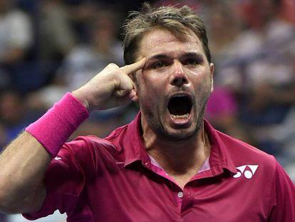 Wawrinka celebra su triunfo contra Nishikori en las semifinales.