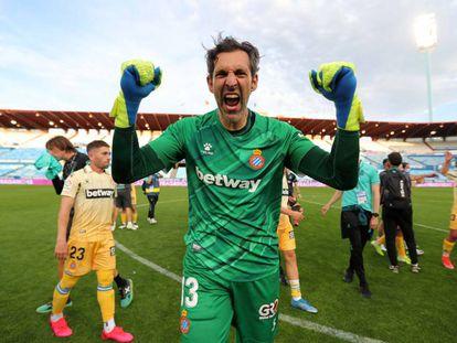 El meta Diego López celebra el ascenso del equipo perico el pasado 8 de mayo.