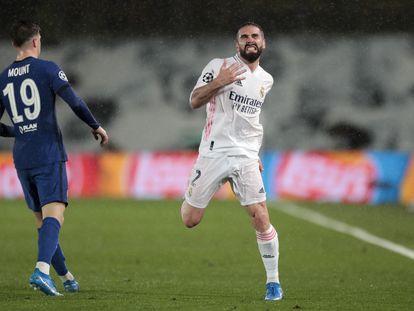 Carvajal, durante el Real Madrid-Chelsea de semifinales de Champions.