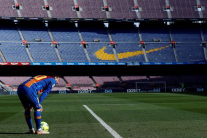 Messi, in an empty Camp Nou last Saturday during the Barcelona-Atlético.
