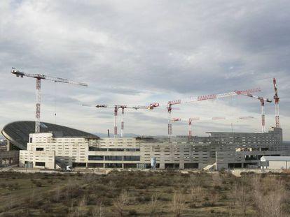 Estado de las obras en el estadio de la Peineta, el pasado mes de marzo.