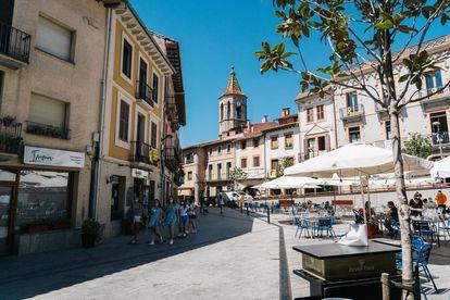 Imagen de la plaza de Viladrau, el martes.