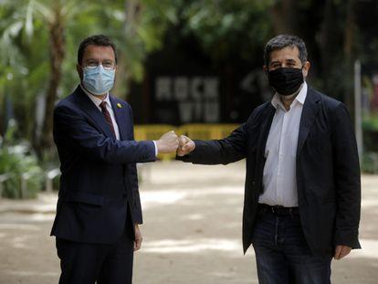 Pere Aragonès y Jordi Sànchez, este lunes.
