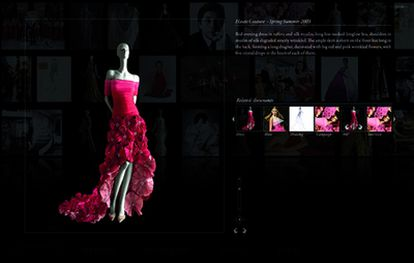 Ejemplo de uno de los vestidos de Valentino que se pueden ver en su museo virtual, donde se aprecian detalles como la temporada de su creación y quien o quienes lo han lucido.