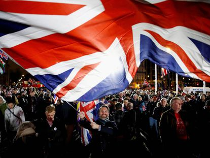 Partidarios del Brexit celebran en Londres la salida del Reino Unido de la UE, el 31 de enero.