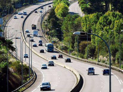 Autopista del Atlántico en el tramo de acceso a A Coruña.