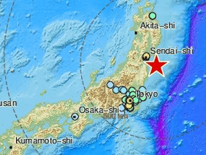Ubicación del terremoto de este sábado en la costa de Fukushima, en Japón.