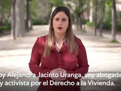 Alejandra Jacinto, en el vídeo de presentación como integrante de la candidatura de Pablo Iglesias para el próximo 4-M.
