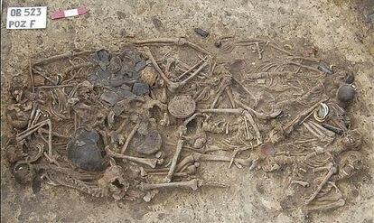 Fosa común en Koszyce, en el sur de Polonia, que contiene 15 esqueletos de personas asesinadas hace unos 5.000 años.