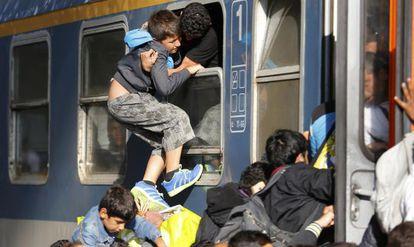 Refugiados en la estación Keleti en Budapest, el 3 de septiembre de 2015.