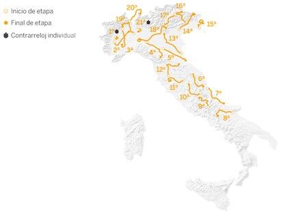 Recorrido del Giro de Italia 2021.