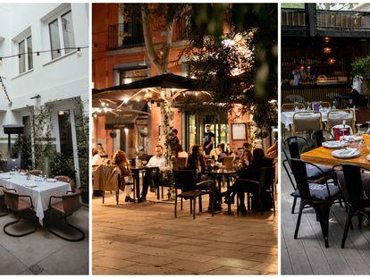 De izquierda a derecha las terrazas de los restaurantes Puntarena, La Mucca y El Jardín de Arzabal