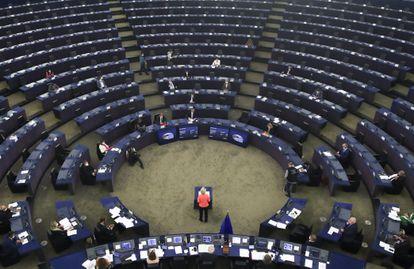 La presidenta de la Comisión Europea, Ursula von der Leyen, habla al Parlamento Europeo este miércoles.