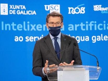 El presidente de la Xunta de Galicia, Alberto Núñez Feijóo, en la presentación del proyecto Nós de inteligencia artificial este 11 de mayo.