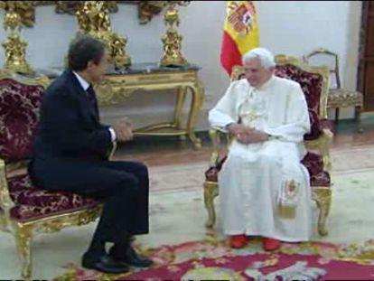 Benedicto XVI y José Luis Rodríguez Zapatero se han reunido esta tarde en la sede de la Nunciatura