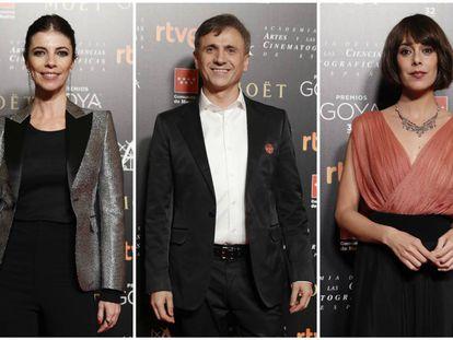 De izquierda a derecha: los actores Maribel Verdú, José Mota y Belén Cuesta en el almuerzo de los nominados a los Goya el pasado 15 de enero.