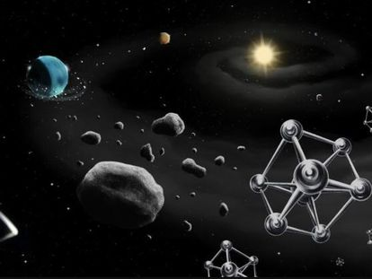Ilustración de la formación de un planeta alrededor de una estrella similar al Sol, con los componentes básicos de los planetas (rocas y moléculas de hierro) en primer plano.