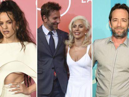 Desde la izquierda: Rosalía, Bradley Cooper y Lady Gaga, y Luke Perry.