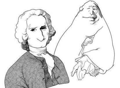 Jean-Jacques Rousseau y David Hume vistos por Loredano.