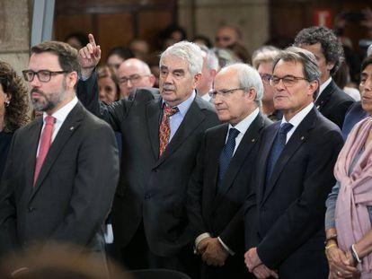 Los expresdients de la Generalitat Pasqual Maragall, José Montilla y Artur Mas.