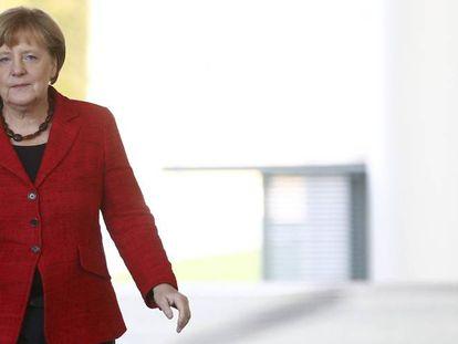 La canciller alemana, Angela Merkel, a su llegada a la Cancillería para prounciarse sobre el resultado de las elecciones presidenciales en EE UU