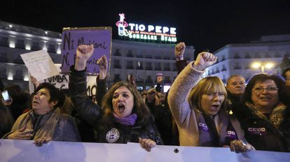 Manifestación a favor de los derechos de las mujeres y contra el discurso de Vox, el pasado 15 de enero, en la Puerta del Sol de Madrid.