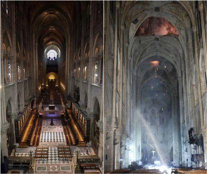 Interior de la catedral de Notre Dame, antes y después del incendio.