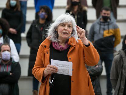 Dolors Sabater, exalcaldesa de Badalona, en un acto como candidata de la CUP-G.