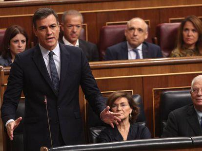 El presidente del Gobierno en funciones, Pedro Sánchez, durante una intervención en el Congreso.