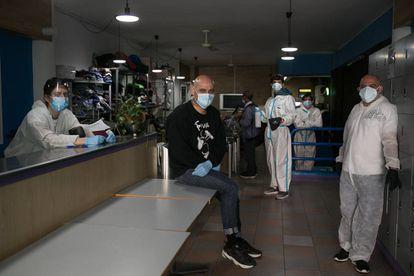 Interior del Gimnasio Social Sant Pau, en al Raval de Barcelona, durante la pandemia.