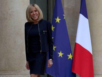 Brigitte Macron, primera dama de Francia, ayer en el palacio del Elíseo.