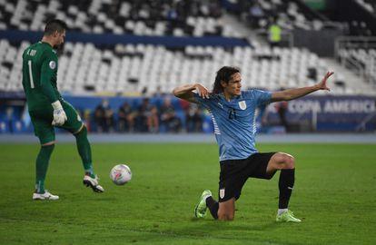 Edinson Cavani celebrates his penalty goal against Paraguay.