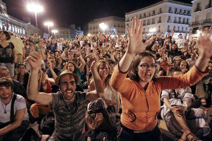 Uno de los actos de protesta convocados por la coordinadora del 15-M en la Puerta del Sol de Madrid.