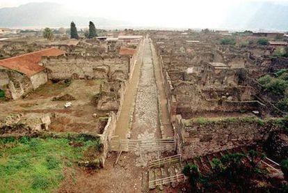 Vista del yacimiento arqueológico de Pompeya, lugar expoliado por la Camorra.