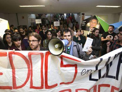 Protestas  ayer en la Universidad Autónoma de Madrid.
