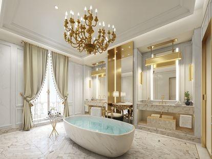 Uno de los baños del Ritz Madrid.