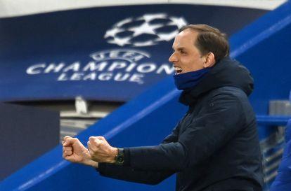 Tuchel celebra el 2-0 ante el Real Madrid.