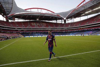 Messi, antes del partido de Champions del curso pasado ante el Bayern.