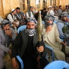 Herat (Afghanistan), 09/07/2021.- Armed supporters of former Mujahideen commander Ismail Khan, guards his residence during a gathering to devise strategies for the defence of their region as they vow to fight side-by-side with Afghan security forces in Herat, Afghanistan, 09 July 2021. Taliban fighters have captured two Afghan border crossings with Iran and Turkmenistan, officials said 09 July, marching ahead with their rapid territorial gains after American troops started pulling out from Afghanistan. A significant amount of trade happens through the ports generating massive revenues for the Afghan government. (Afganistán) EFE/EPA/JALIL REZAYEE