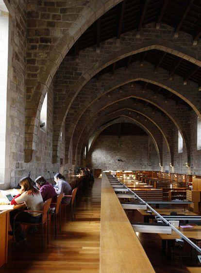 Sala de lectura de la Biblioteca Nacional de Catalunya, en Barcelona.