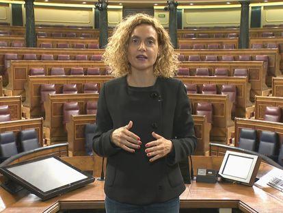 La presidenta del Congreso, Meritxell Batet, este lunes 8 de marzo, día internacional de la mujer.
